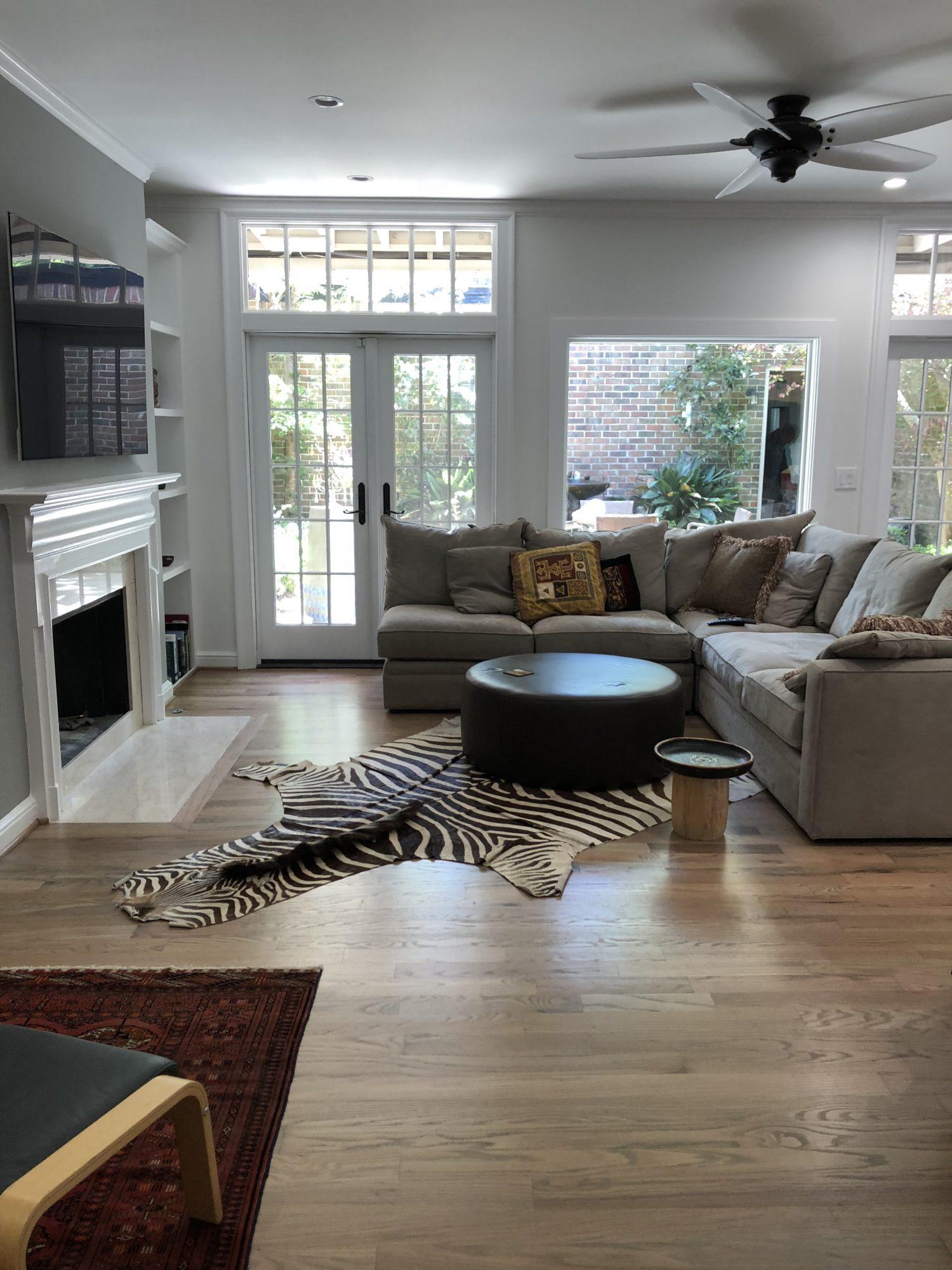 Den with Fireplace Integral Design Consultant Lorell Frysh of Buckhead, Atlanta, GA