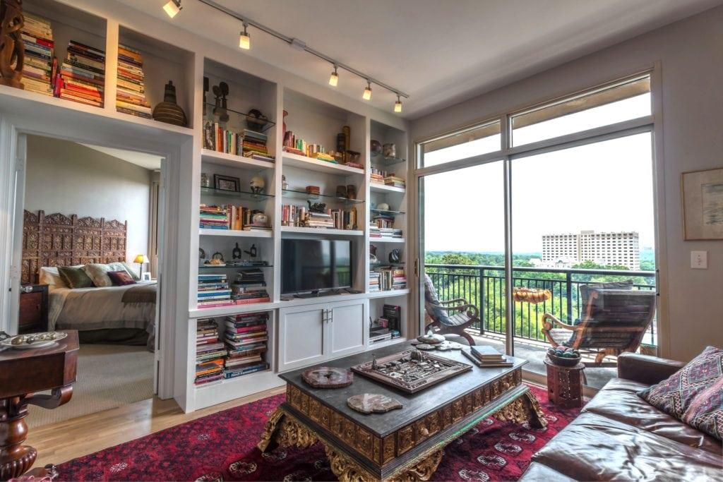 Living Room Bookshelves Integral Design Consultant Lorell Frysh of Buckhead, Atlanta, GA